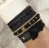 DARK Metal Bead Bracelet With Tassel, Black