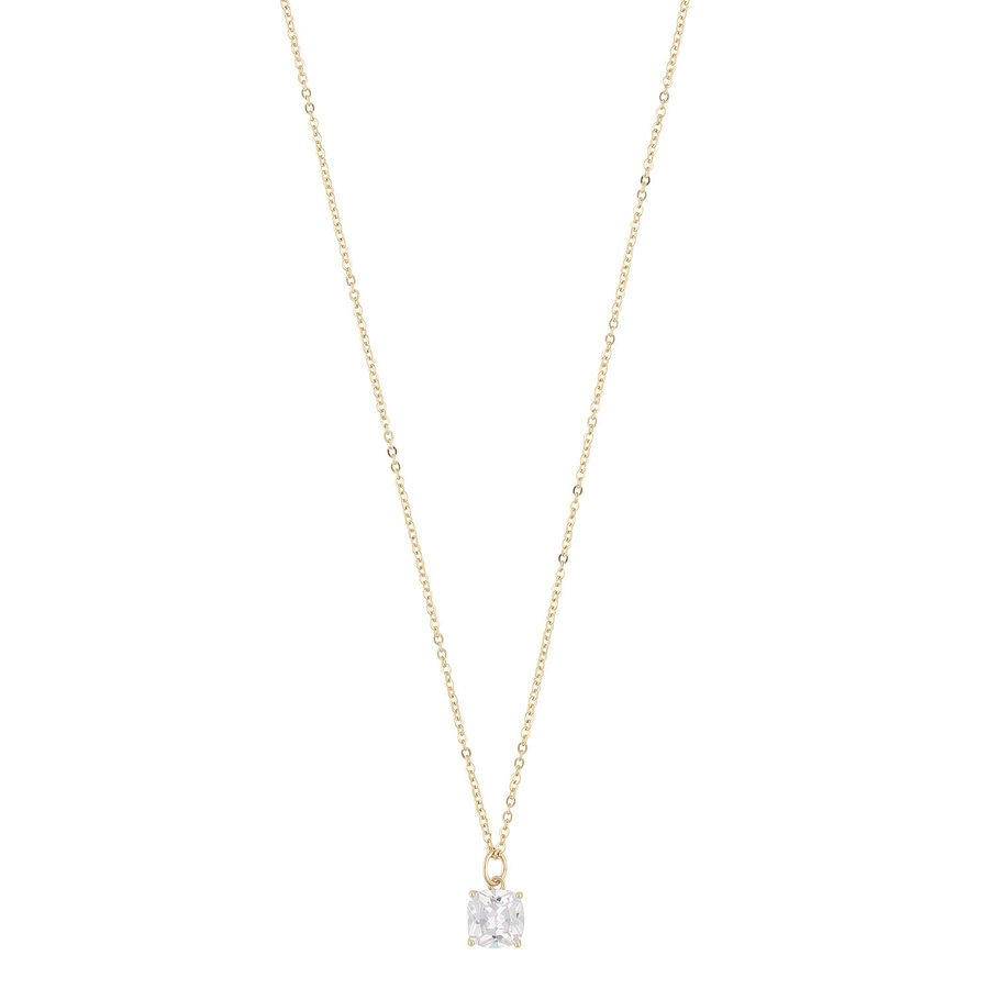 Snö Of Sweden Camille Stone Pendant Necklace Gold / Clear 50 cm