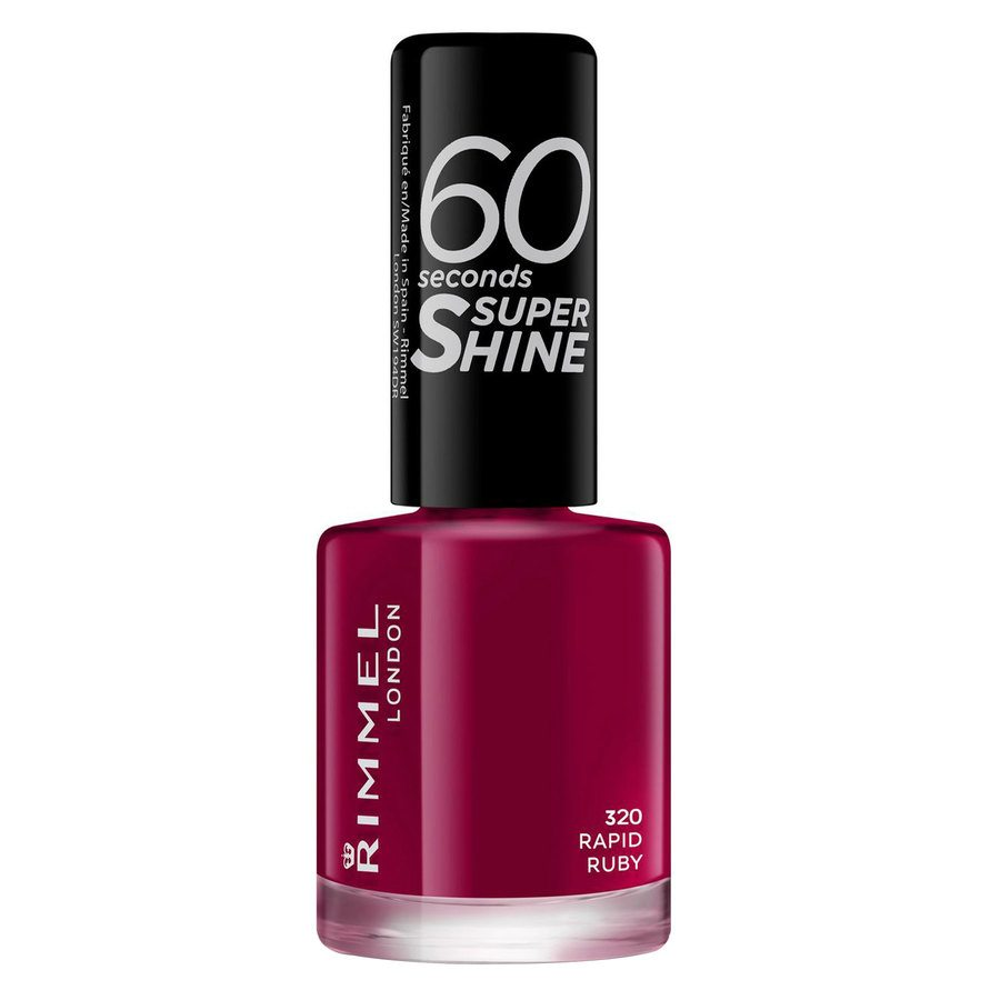 Rimmel London 60 Seconds Super Shine Nail Polish (8 ml), # 320 Rapid Ruby