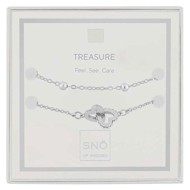 Snö Of Sweden Valentine Treasure Bracelet Set Silver / Clear