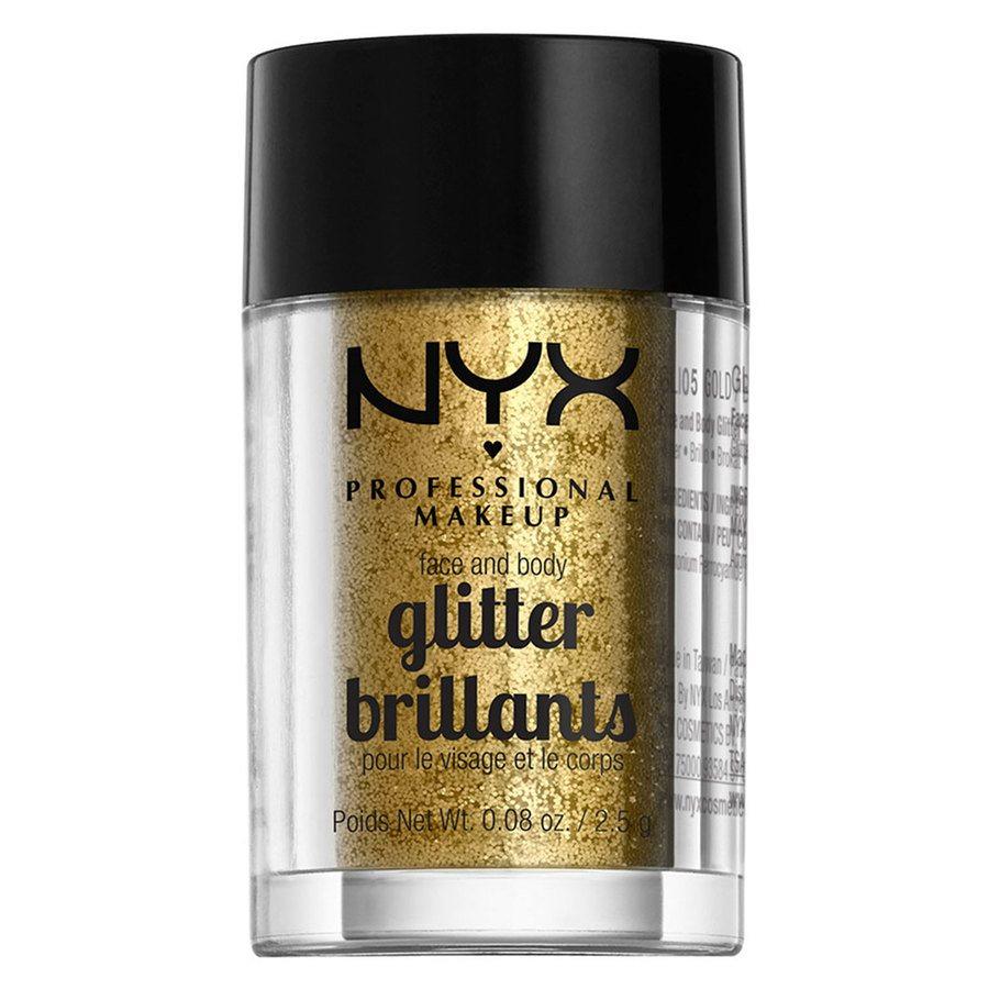 NYX Professional Makeup Face And Body Glitter Brilliants, Gold GLI05 (2,5g)