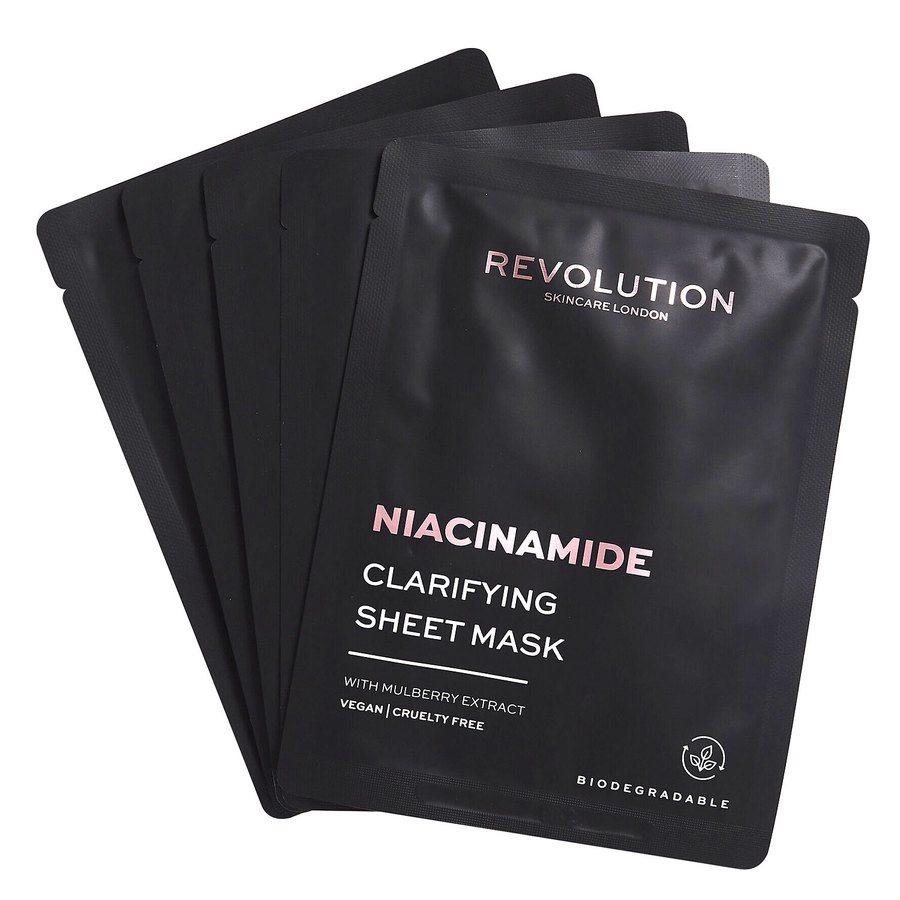 Revolution Beauty Revolution Skincare Biodegradable Clarifying Niacinamide Sheet Mask 5 szt.