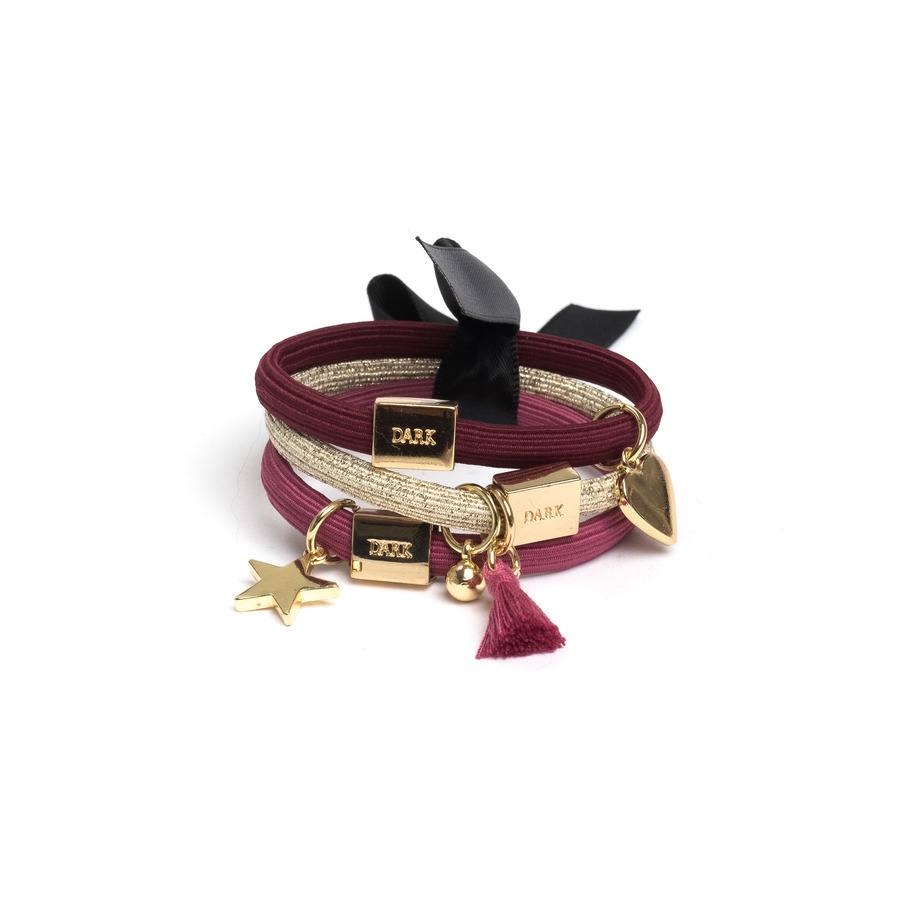DARK Hair Ties With Charms Combo, Berries, 3 szt.
