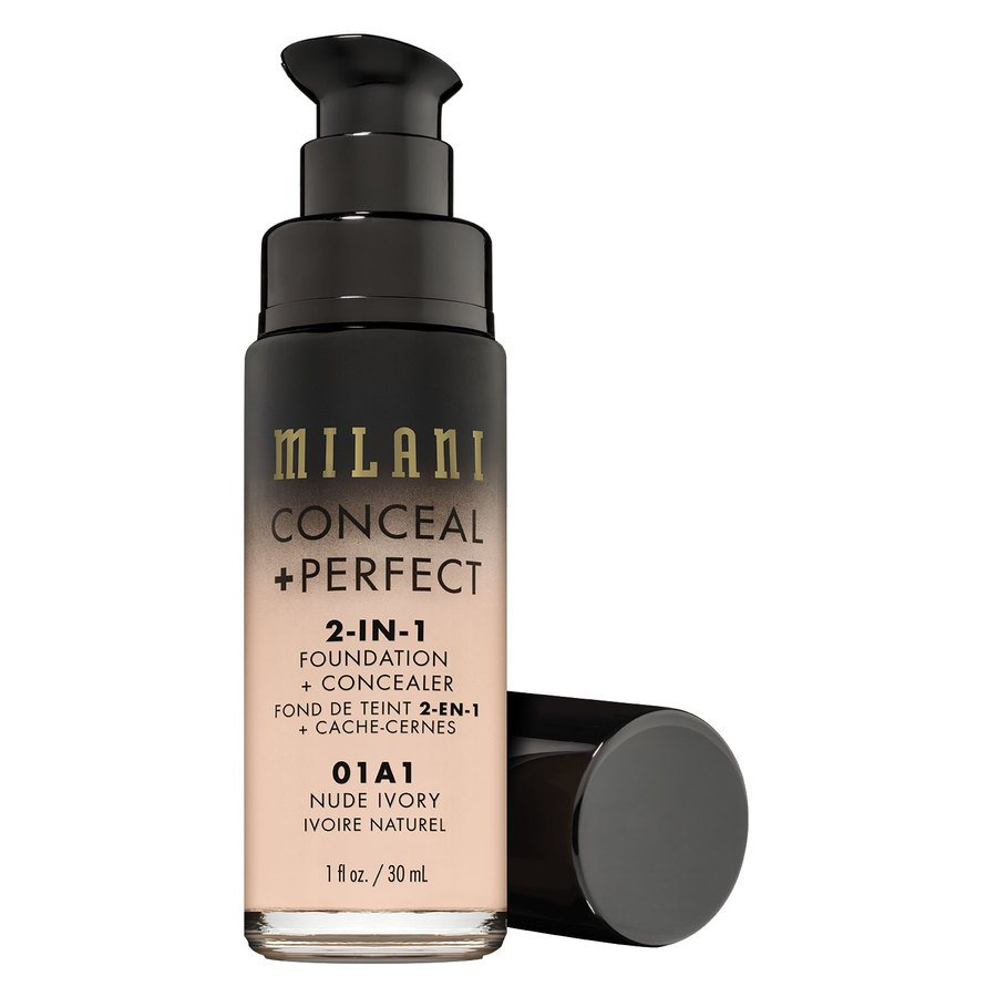 Milani Conceal & Perfect 2 In 1 Foundation + Concealer (30 ml), Nude Ivory