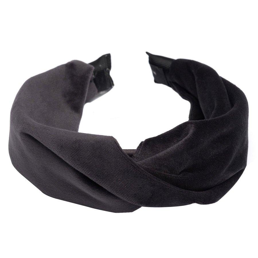 DARK Velvet Folded Hairband, Charcoal