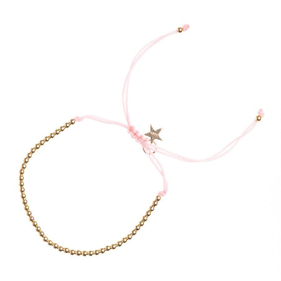 DARK Metal Bead Bracelet Thin, Blush Rose