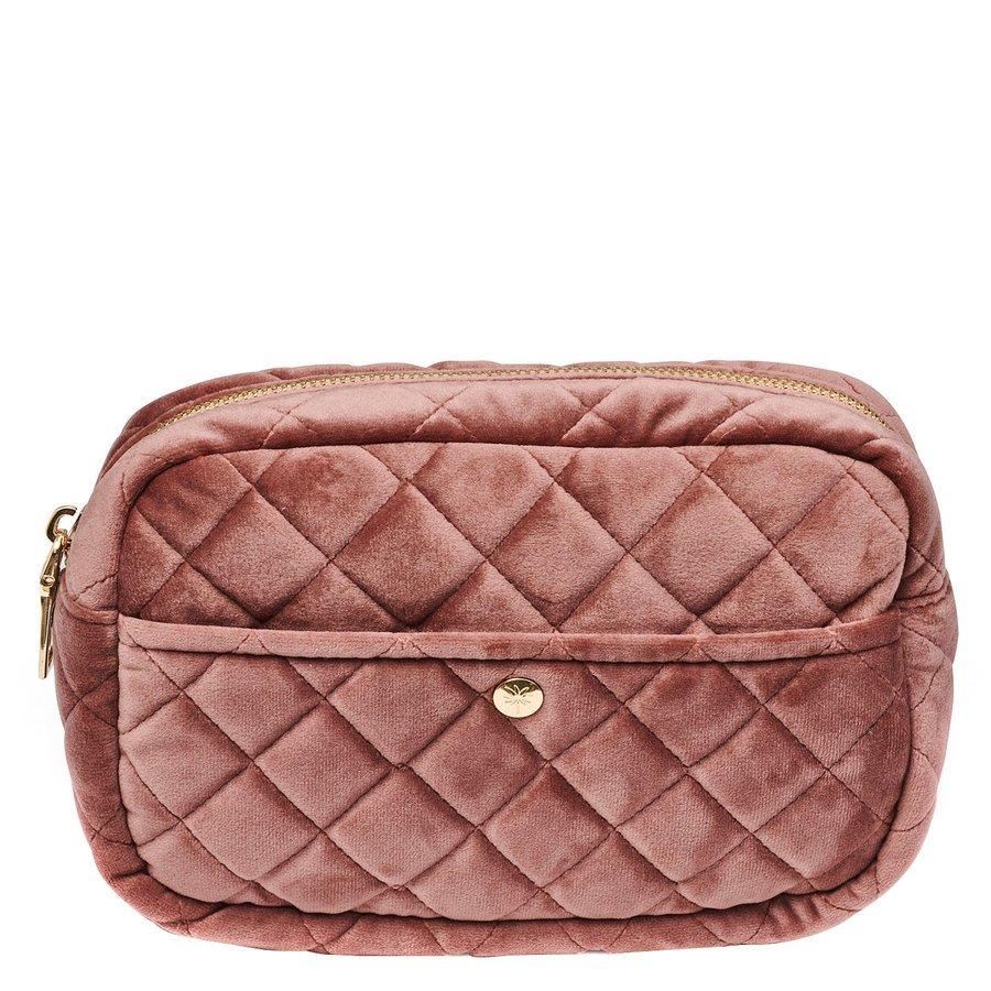 Fan Palm Beauty Bag Quilted Velvet Vintage Rose Medium