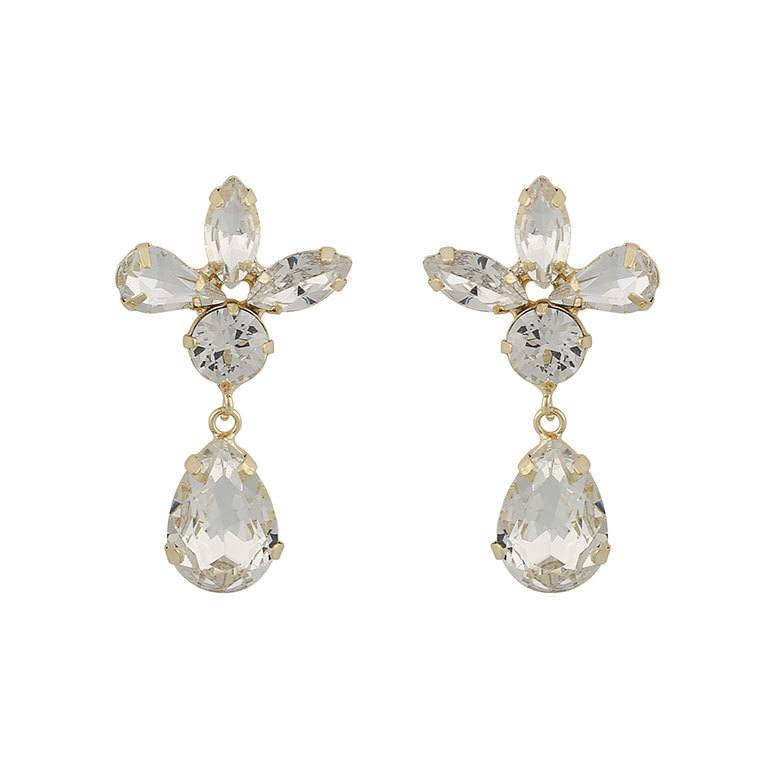 Snö Of Sweden Smith Drop Pendant Earring Gold/Clear 37 mm