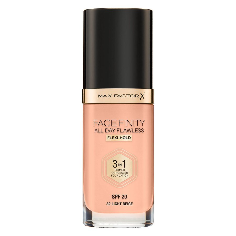 Max Factor Facefinity All Day Flawless 3-In-1 Foundation (30 ml), #32 Light Beige