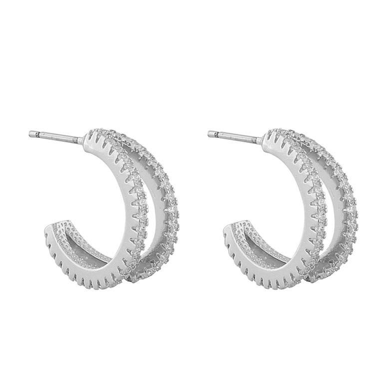 Snö Of Sweden Hanni Double Ring Earring Silver/Clear 16 mm