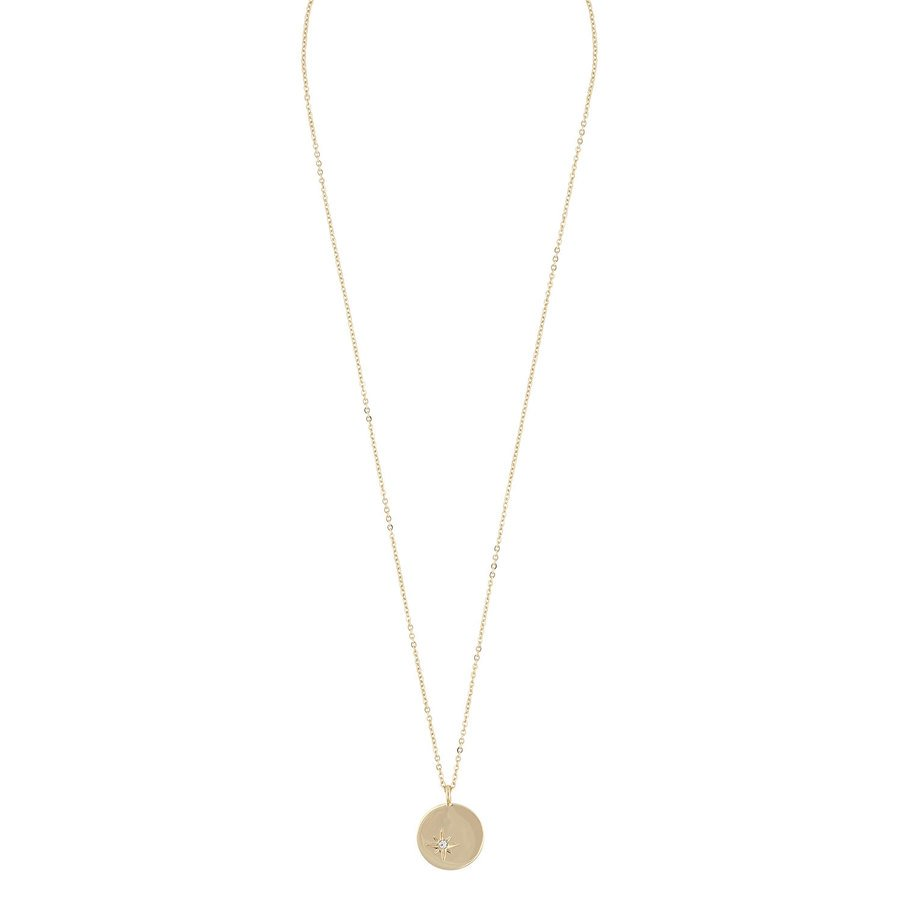 Snö Of Sweden Feliz Pendant Coin Necklace Gold / Clear 45cm