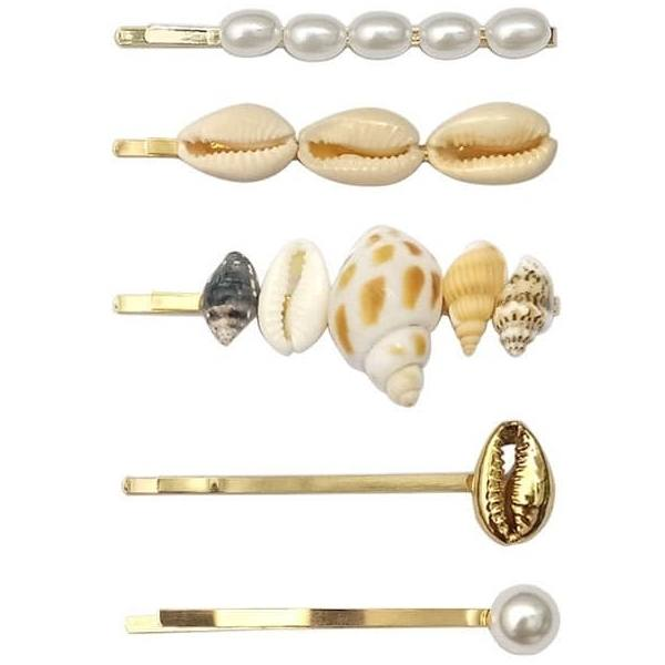 Hairpin seashell 03 Gold and Pearls