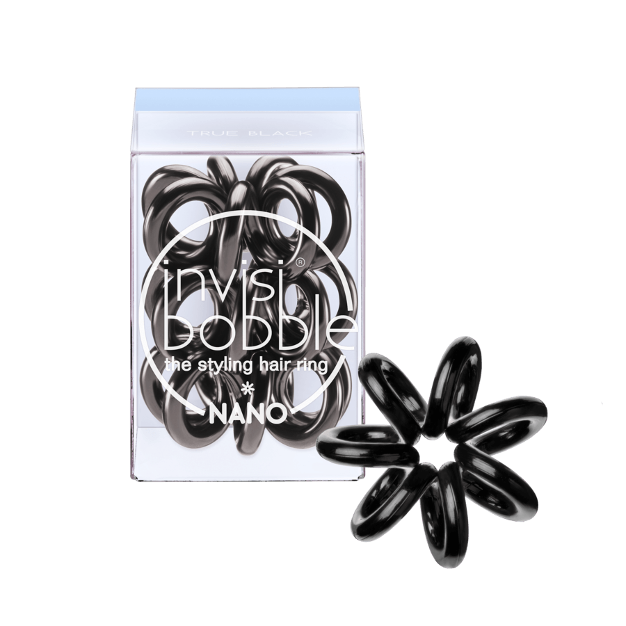 Invisibobble Nano 3 Styling Hair Rings, True Black