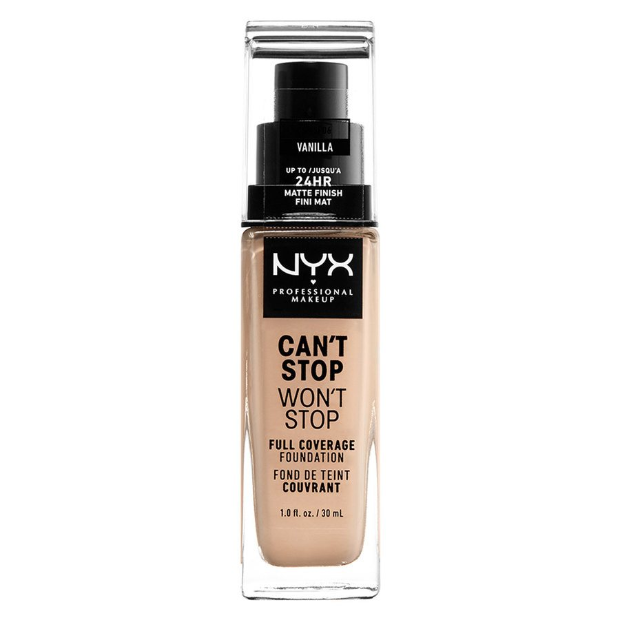NYX Professional Makeup Can't Stop Won't Stop Full Coverage Foundation (30ml), Vanilla