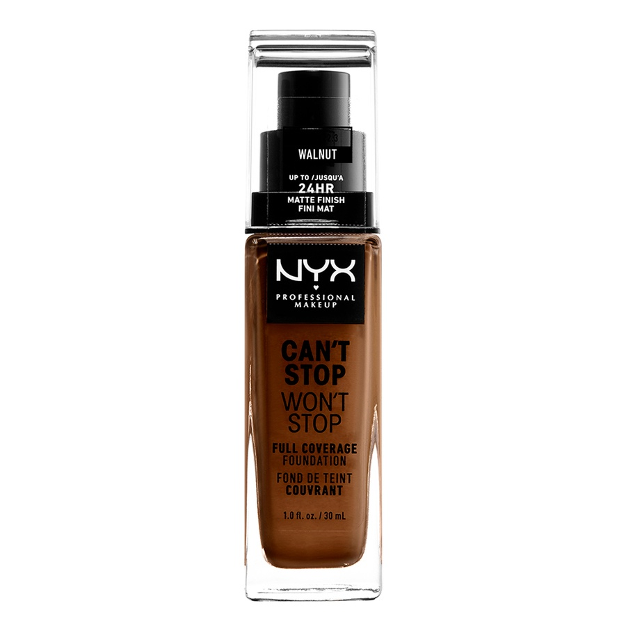 NYX Professional Makeup Can't Stop Won't Stop Full Coverage Foundation (30ml), Walnut