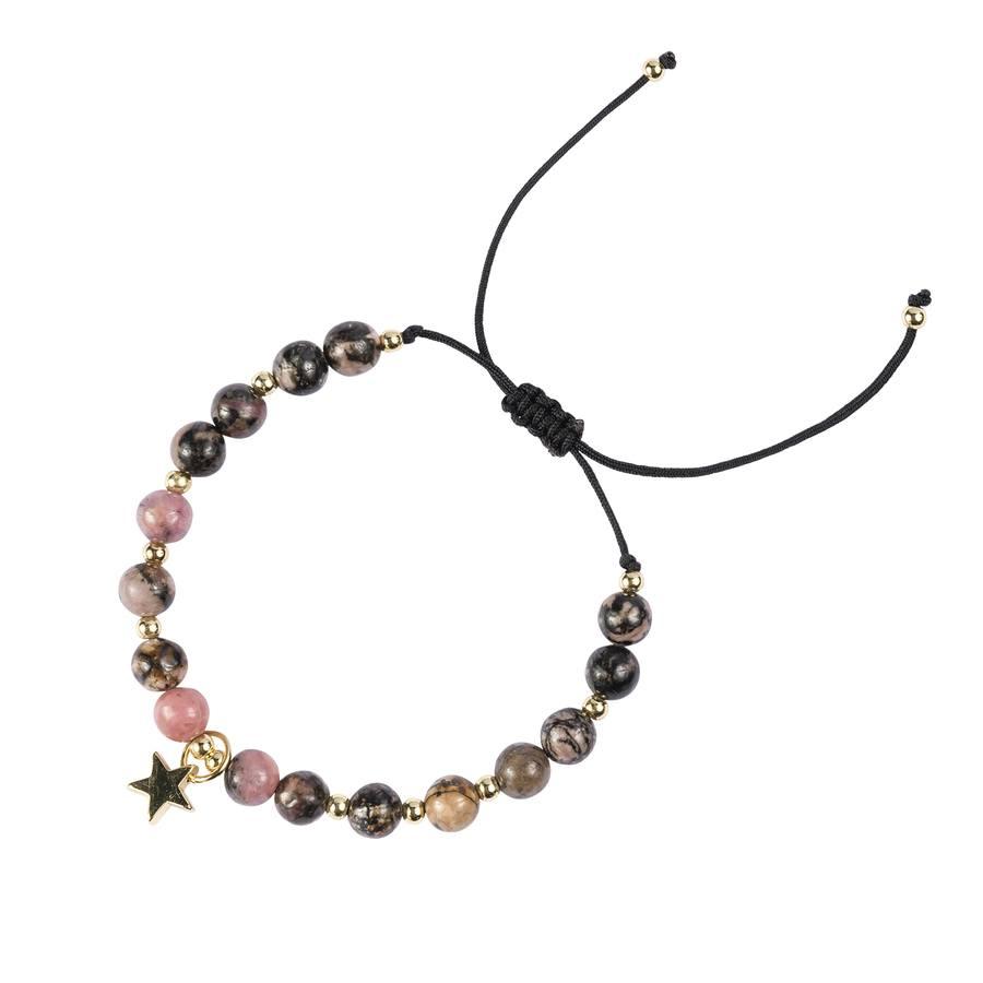 DARK Stone Bead Bracelet, Rose & Blacks, 6mm