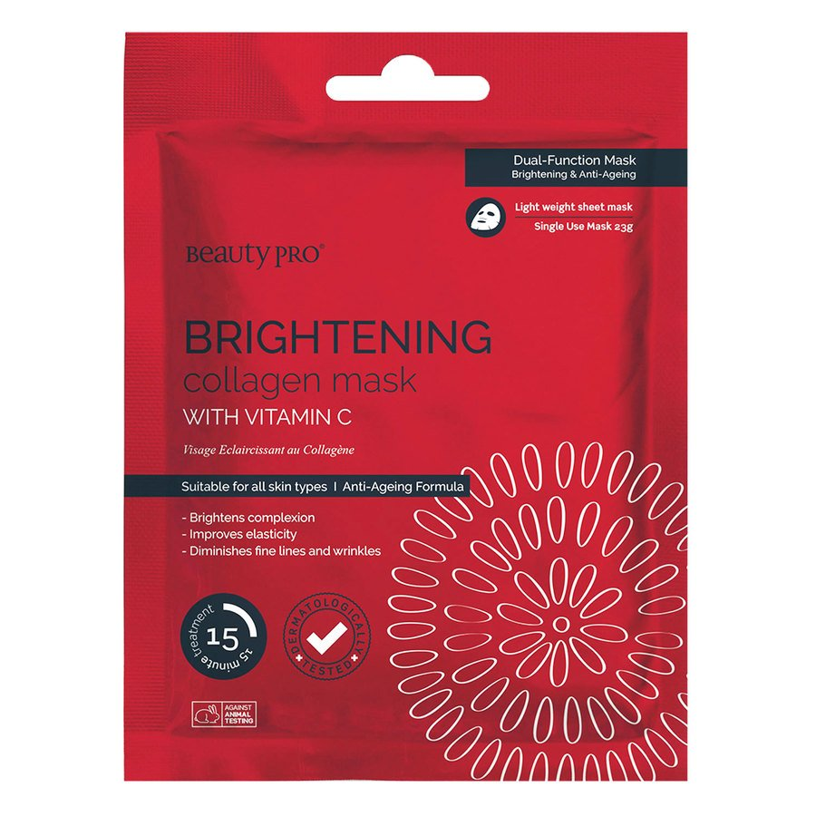 BeautyPro Brightening Collagen Sheet Mask With Vitamin C 23g