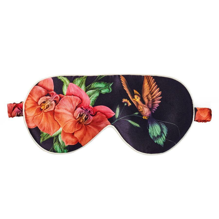 Fan Palm Sleeping Eye Mask Silk Black Flower 20 x 10 cm