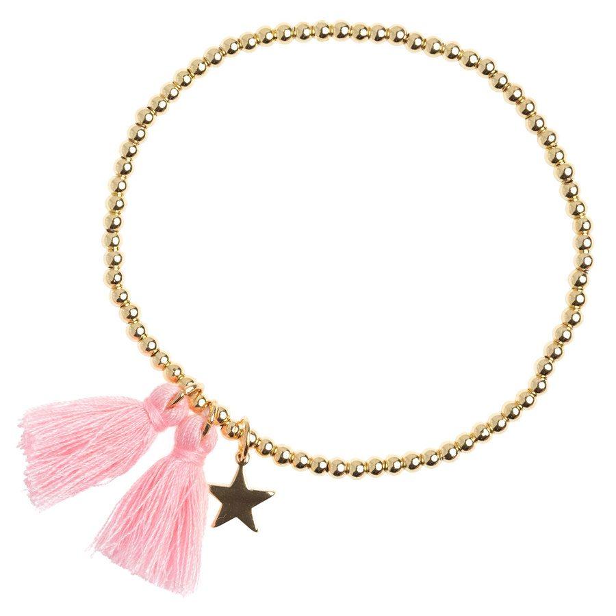 DARK Metal Bead Bracelet With Tassel, Blush Rose