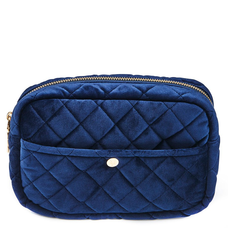 Fan Palm Beauty Bag Quilted Velvet Midnight Blue Medium