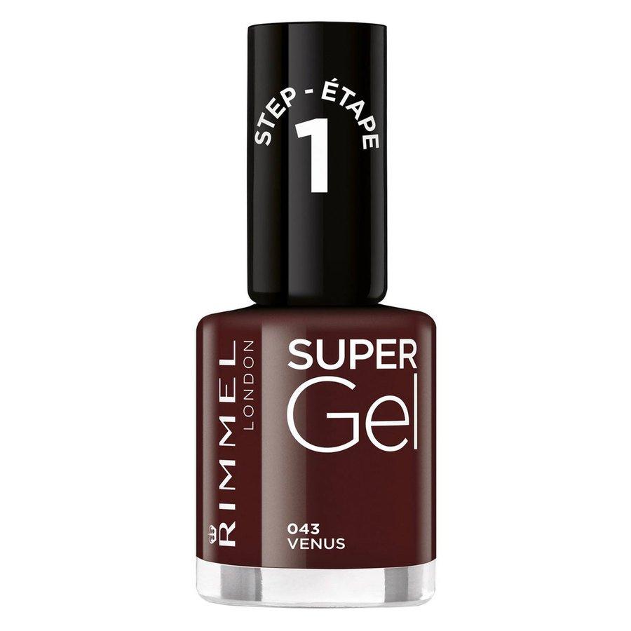 Rimmel London Super Gel Nail Polish (12ml), #43 VenusDark Red