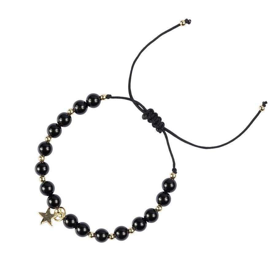 DARK Stone Bead Bracelet, Shiny Black, 6mm