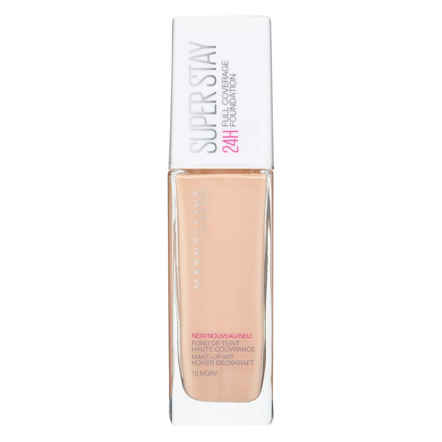 Maybelline Super Stay 24h Full Coverage Foundation, 10 Ivory (30ml)