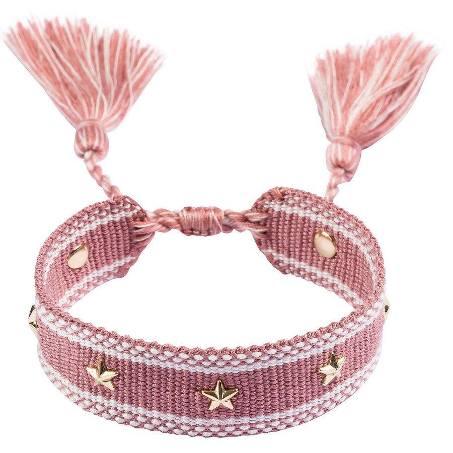 DARK Woven Friendship Bracelet With Star Stud, Dusty Rose