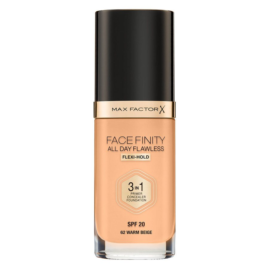 Max Factor Facefinity All Day Flawless 3-In-1 Foundation (30 ml), W62 Warm Beige