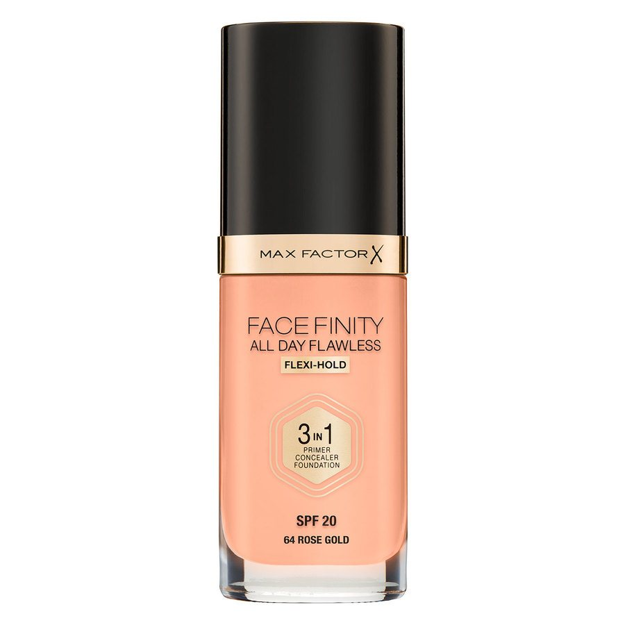 Max Factor Facefinity All Day Flawless 3-In-1 Foundation (30 ml), C64 Rose Gold