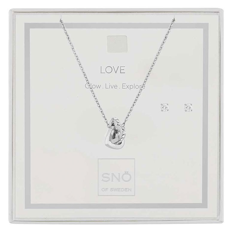 Snö Of Sweden Valentine Love Necklace Set Silver / Clear