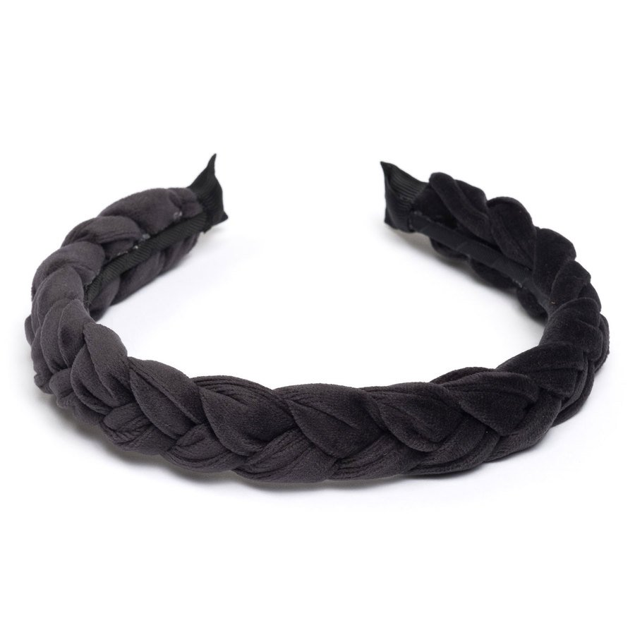 DARK Velvet Braided Hairband, Charcoal