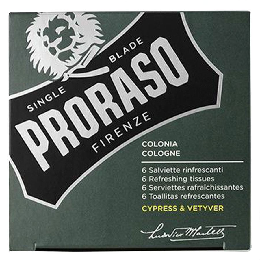 Proraso Beard Wipes Cypress & Vetyver (6 szt)