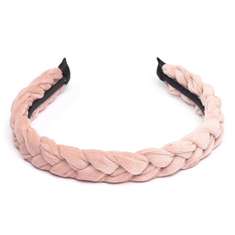 DARK Velvet Braided Hairband, Pale Rose