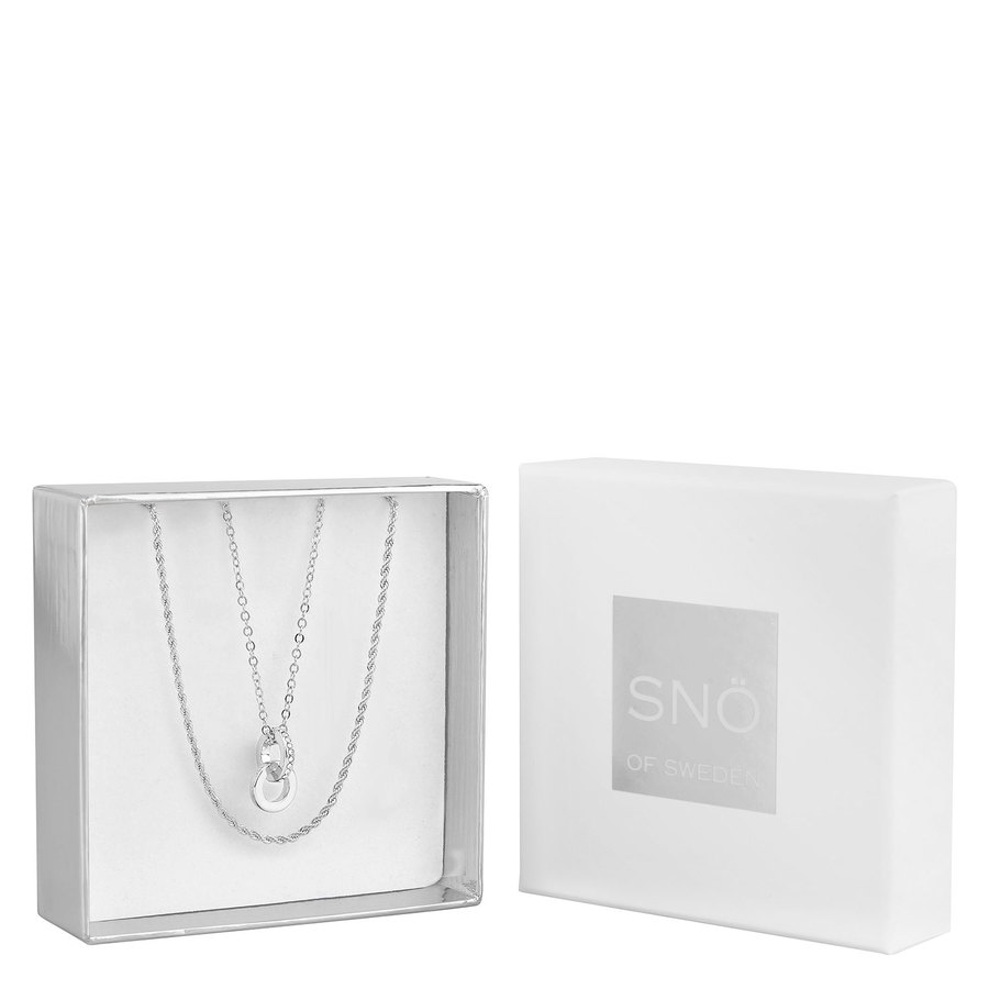 Snö of Sweden Crystal Royal Pendant Necklace Set – Silver / Clear