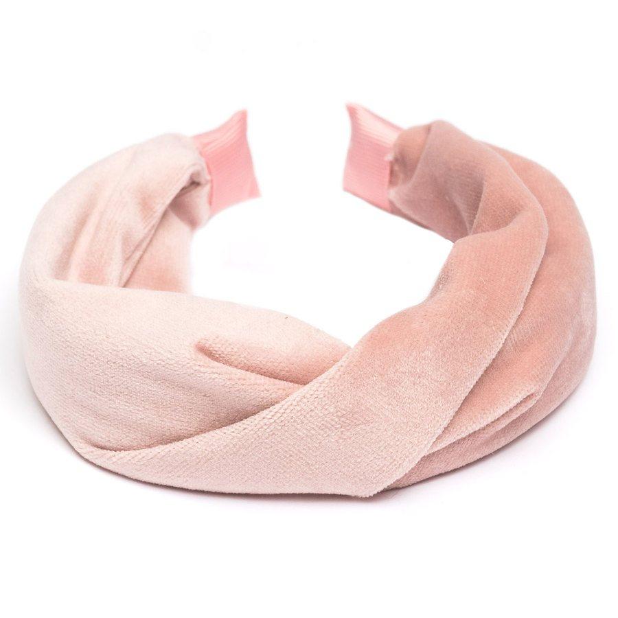 DARK Velvet Folded Hairband, Pale Rose