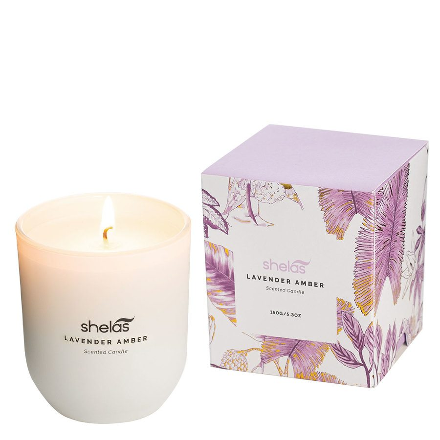 Shelas Scented Candle Lavender Amber 150 g
