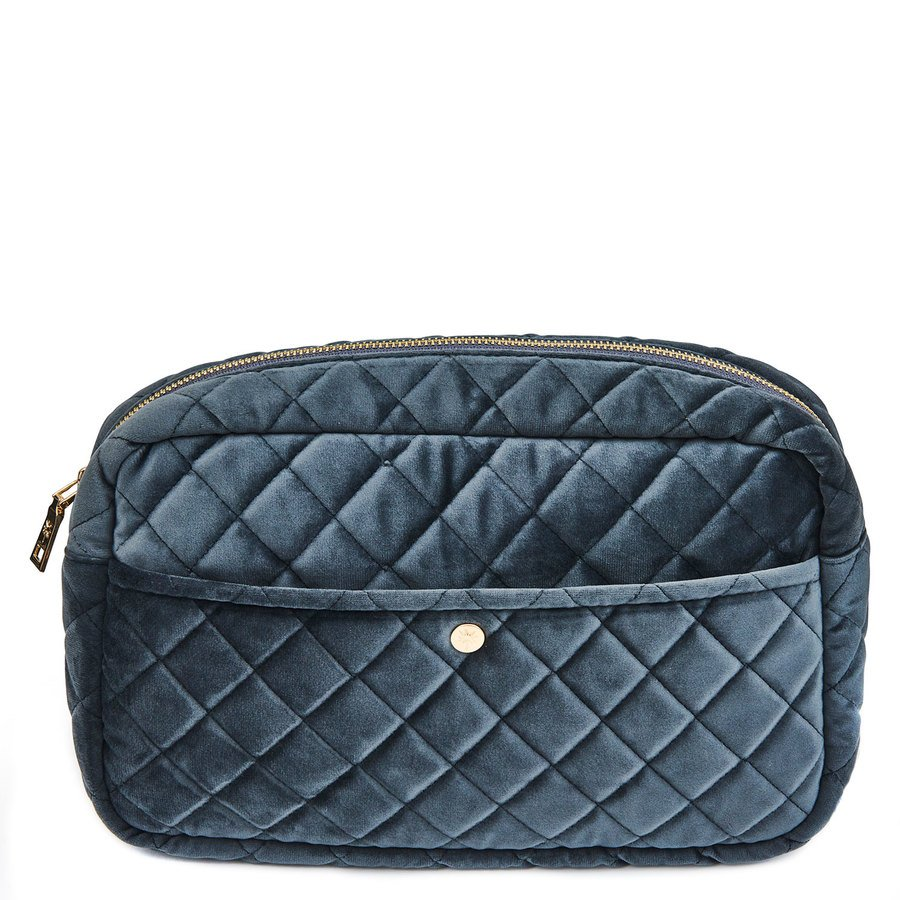 Fan Palm Beauty Bag Quilted Velvet Smoke Large