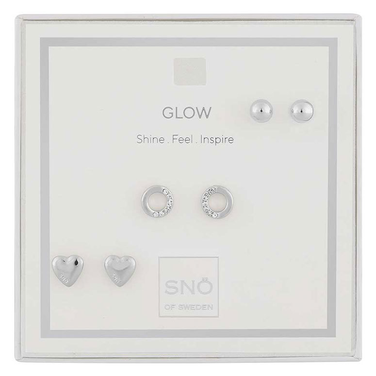 Snö Of Sweden Valentine Glow Earring Set Silver / Clear